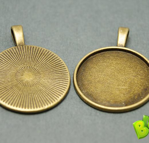 Основа для кулона круглая с краями, d 25 мм