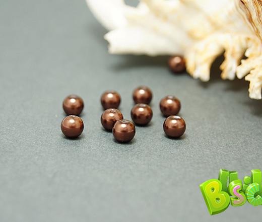 Бусины под жемчуг стеклянные, шоколадный, 6 мм