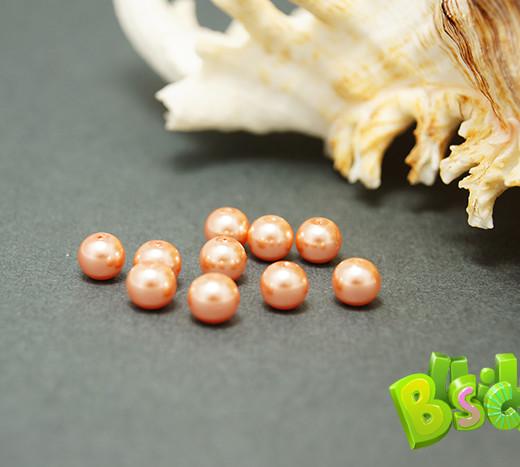 Бусины под жемчуг стеклянные, оранжевый, 6 мм
