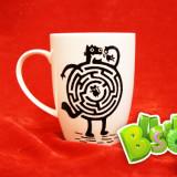 Чашка с прожорливым котом ручной росписи