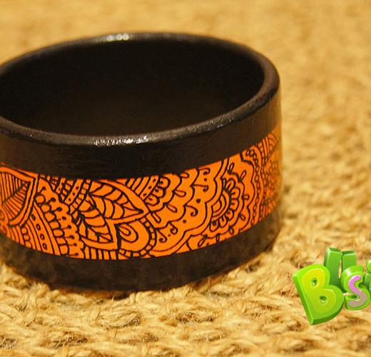 Деревянный браслет Black-Orange
