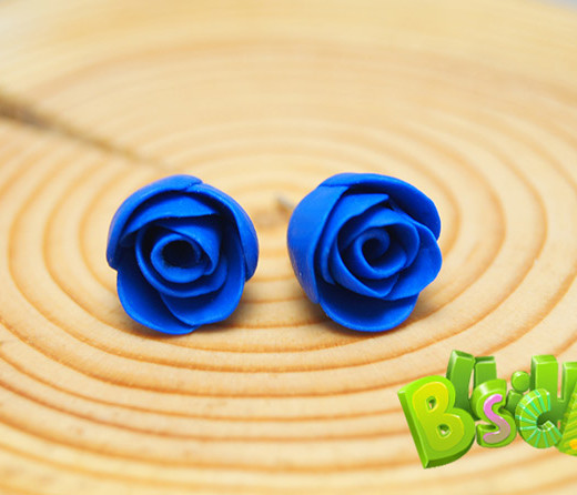 Серьги розочки синие ручной работы