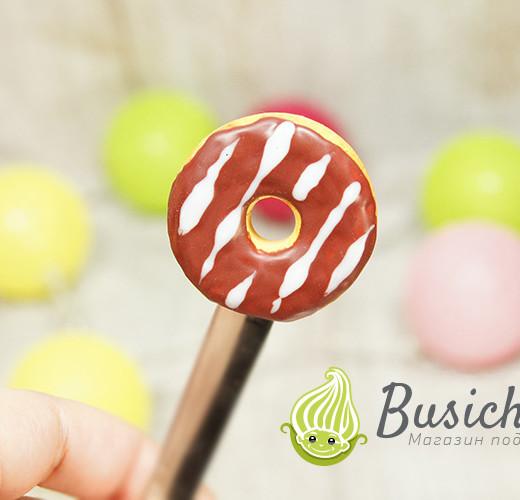 Чайная ложечка Пончик с шоколадно-белой глазурью